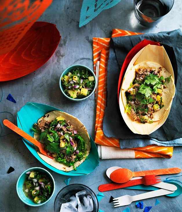 **Quail larb tacos with grilled pineapple salsa**