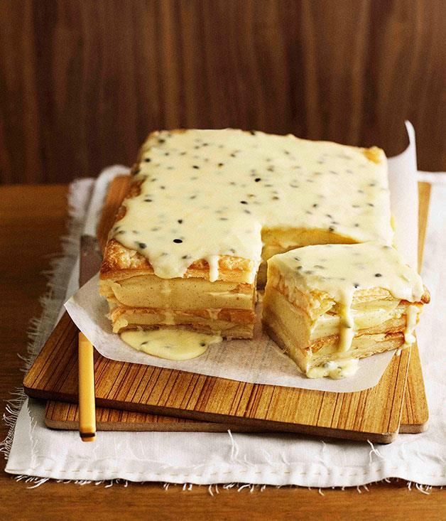 "[**Passionfruit vanilla slice**](https://www.gourmettraveller.com.au/recipes/browse-all/passionfruit-vanilla-slice-9859|target=""_blank"")"