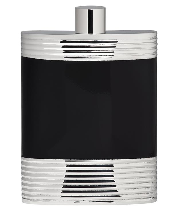 """**Vera Wang Wedgwood """"Debonair"""" flask** Special occasions call for special tools, such as this stainless steel and black enamel hip flask from [Wedgwood's](http://www.wwrd.com.au/ """"Waterford"""") Vera Wang Debonair Barware collection. _$69.95._"""