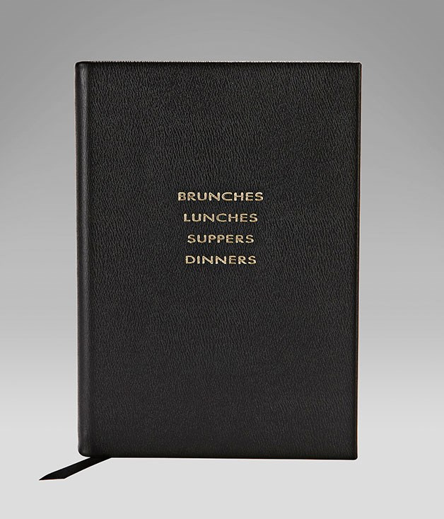 "**Smythson leather food journal** One for the forgetful Valentine. This ""Brunches, Lunches, Suppers and Dinners"" diary from [Smythson](http://www.smythson.com/ ""Smythson"") is divided into sections on guests, food and drink to ensure your other half remembers every moment of a special meal - even if more than a few glasses are clinked. _$196._"