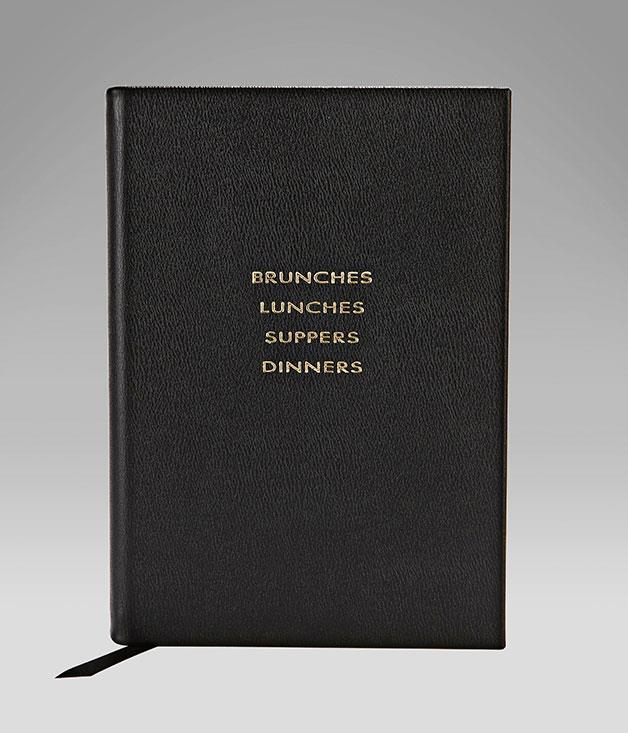 """**Smythson leather food journal** One for the forgetful Valentine. This """"Brunches, Lunches, Suppers and Dinners"""" diary from [Smythson](http://www.smythson.com/ """"Smythson"""") is divided into sections on guests, food and drink to ensure your other half remembers every moment of a special meal - even if more than a few glasses are clinked. _$196._"""