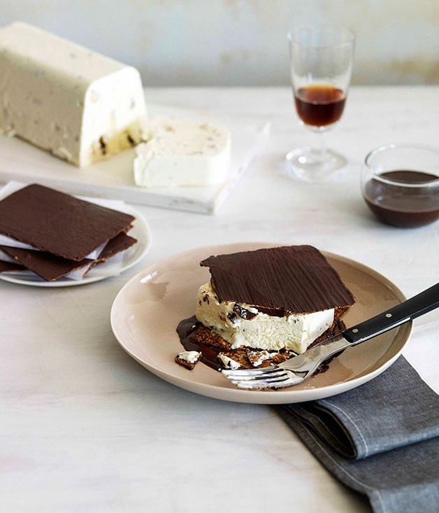 **Chocolate Florentine wafer and honey semifreddo tramezzino**