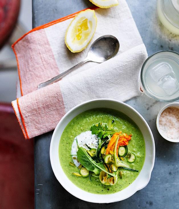 Raw zucchini, pistachio and buttermilk soup