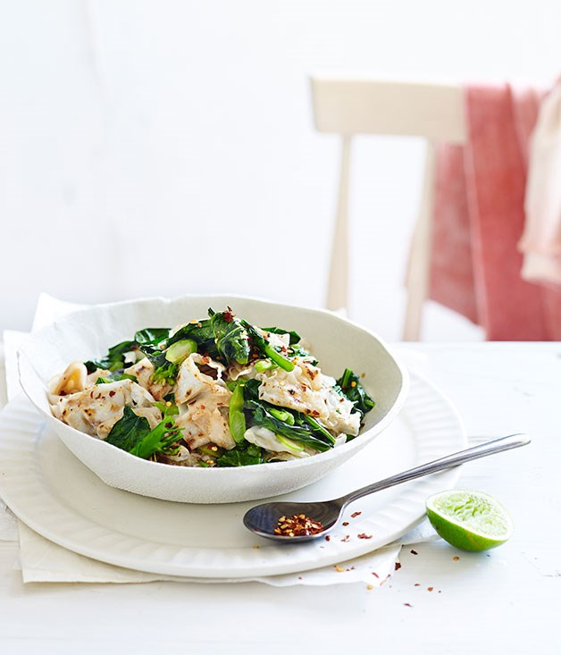 Charred rice noodles and greens