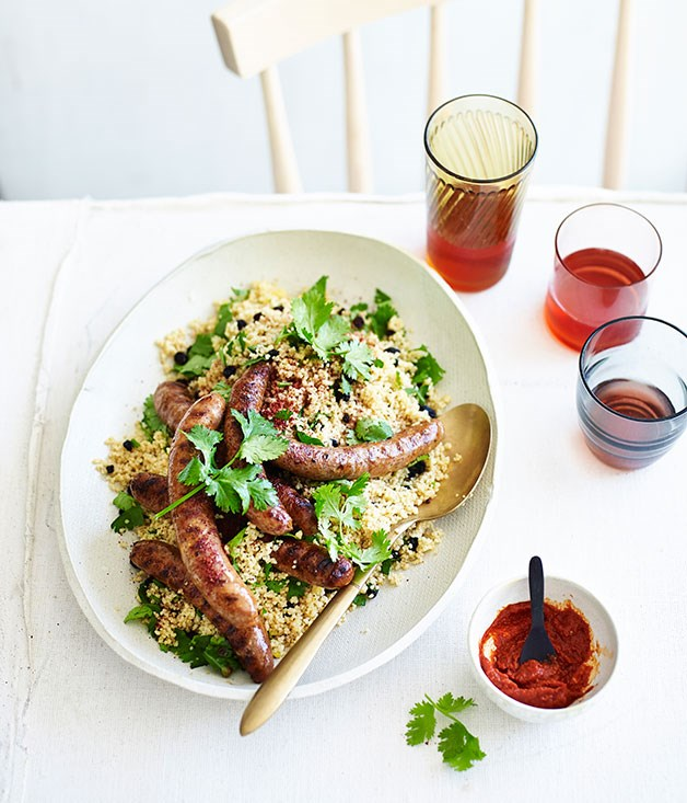 Merguez sausages with harissa and couscous