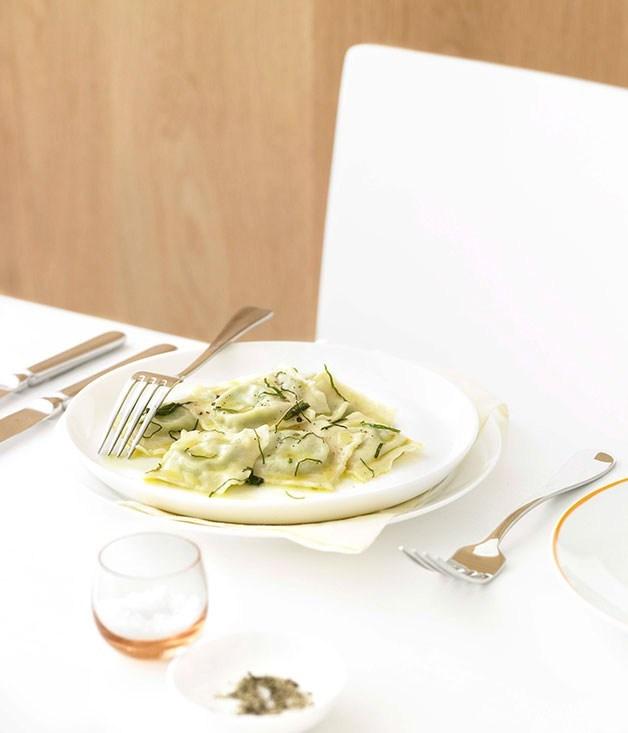 "[**Pea ravioli**](https://www.gourmettraveller.com.au/recipes/chefs-recipes/pea-ravioli-8899|target=""_blank"") <br><br>"
