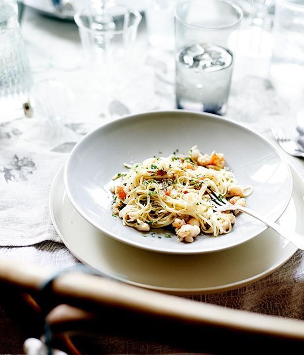 "[**Lobster tagliarini**](https://www.gourmettraveller.com.au/recipes/chefs-recipes/lobster-tagliarini-7981|target=""_blank"") <br><br>"