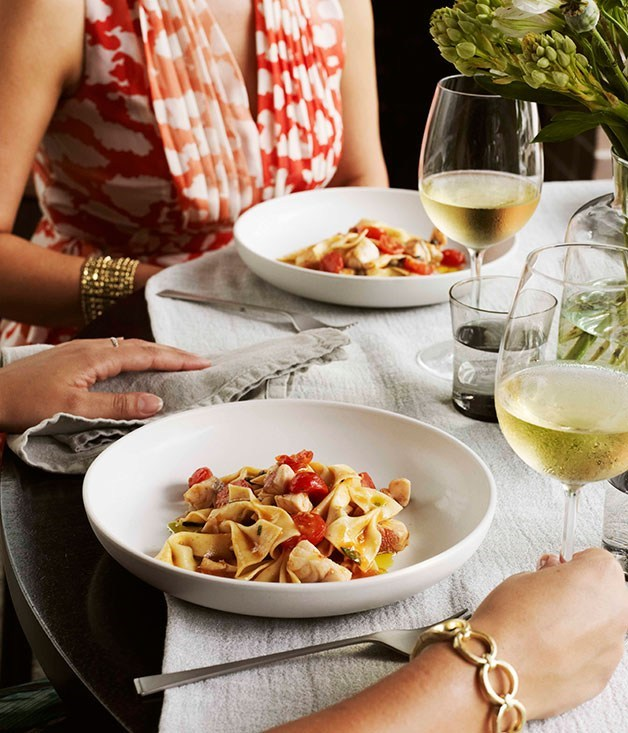 "[**Farfalle with red gurnard and cherry tomatoes**](https://www.gourmettraveller.com.au/recipes/browse-all/farfalle-with-red-gurnard-and-cherry-tomatoes-11624|target=""_blank"") <br><br>"