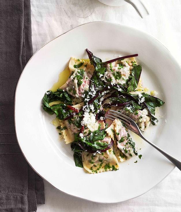 "[**Beetroot leaf ravioli with ricotta salata and herb sauce**](https://www.gourmettraveller.com.au/recipes/browse-all/beetroot-leaf-ravioli-with-ricotta-salata-and-herb-sauce-10731|target=""_blank"") <br><br>"