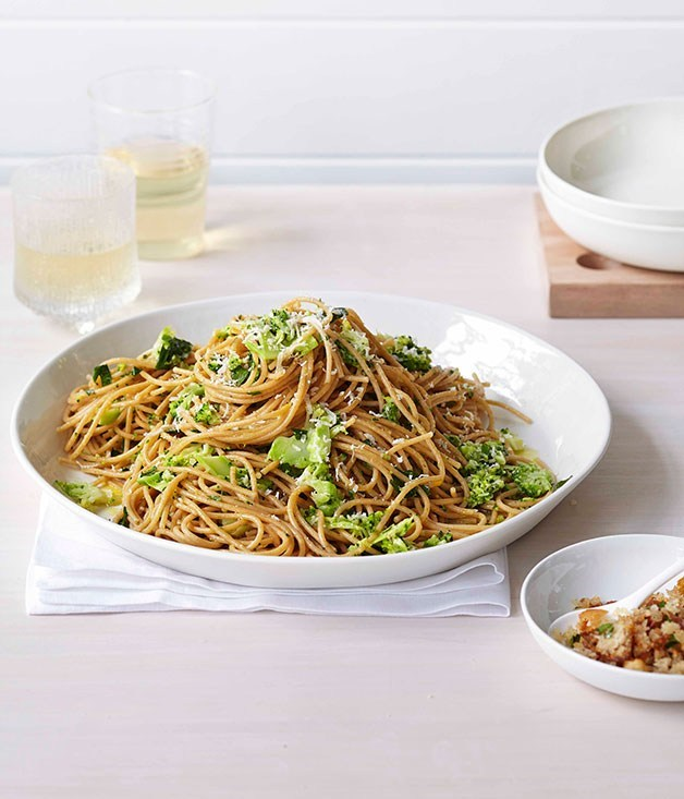 "[**Broccoli and parmesan spaghetti with prosciutto crumbs**](https://www.gourmettraveller.com.au/recipes/fast-recipes/broccoli-and-parmesan-spaghetti-with-prosciutto-crumbs-13359|target=""_blank"") <br><br>"