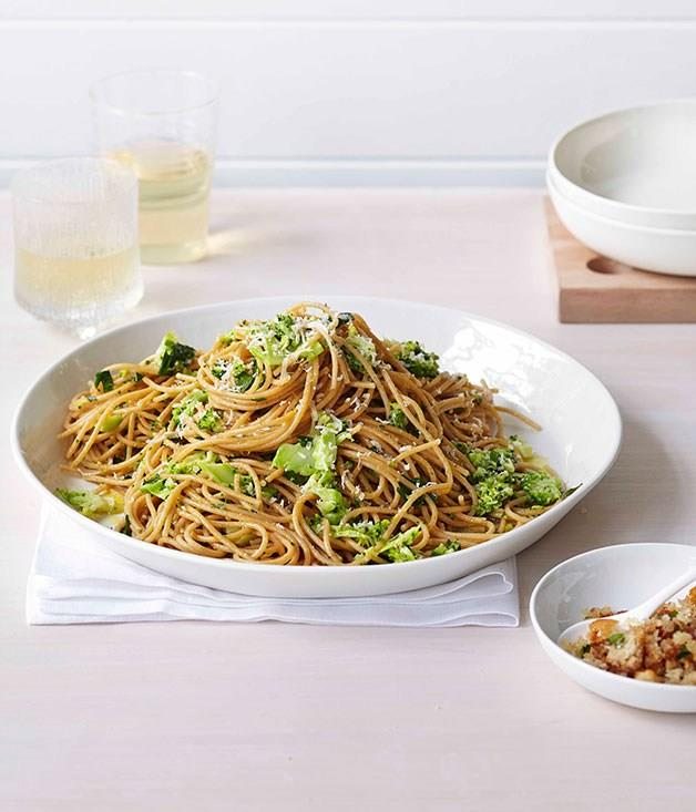 """[**Broccoli and parmesan spaghetti with prosciutto crumbs**](https://www.gourmettraveller.com.au/recipes/fast-recipes/broccoli-and-parmesan-spaghetti-with-prosciutto-crumbs-13359