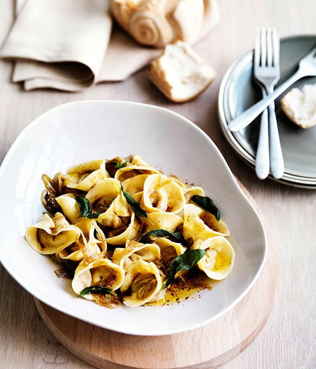 "[**Roast pumpkin tortellini with amaretti, sage and onion**](https://www.gourmettraveller.com.au/recipes/browse-all/roast-pumpkin-tortellini-with-amaretti-sage-and-onion-11469|target=""_blank"") <br><br>"