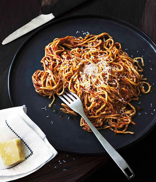 "[**House-made spaghetti with sugo**](https://www.gourmettraveller.com.au/recipes/chefs-recipes/house-made-spaghetti-with-sugo-7547|target=""_blank"") <br><br>"