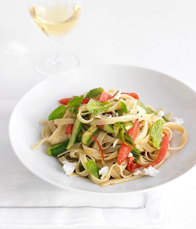 "[**Fettuccine with zucchini flowers, chilli and feta**](https://www.gourmettraveller.com.au/recipes/fast-recipes/fettuccine-with-zucchini-flowers-chilli-and-feta-12971|target=""_blank"") <br><br>"