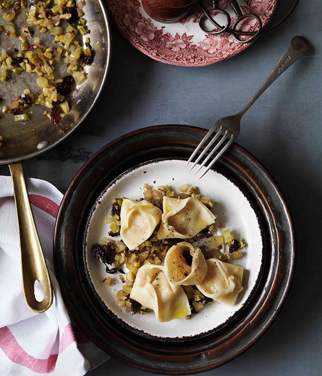 "[**Tortellini of lardo with stemperata**](https://www.gourmettraveller.com.au/recipes/browse-all/tortellini-of-lardo-with-stemperata-10523|target=""_blank"") <br><br>"