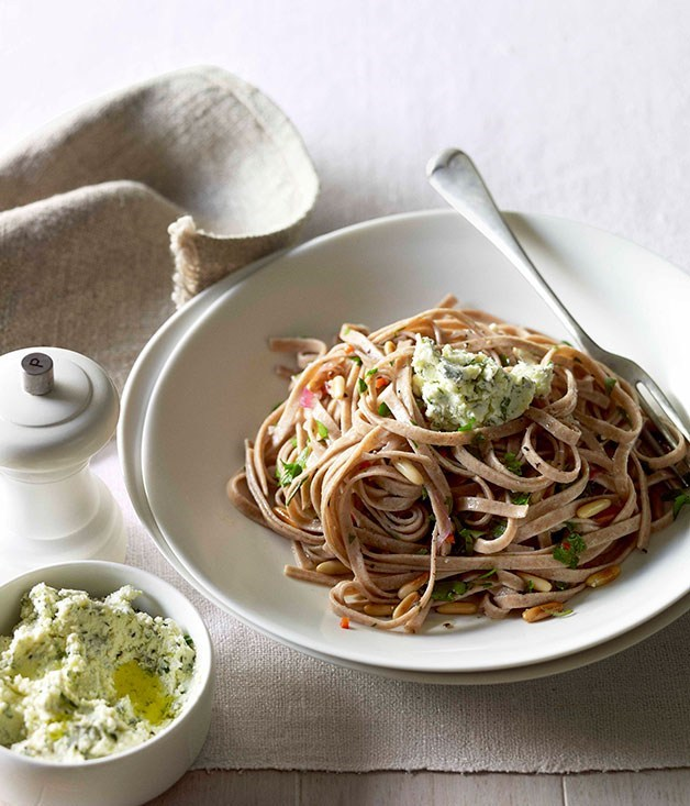 "[**Spelt fettuccine with herbed ricotta, chilli and pine nuts**](https://www.gourmettraveller.com.au/recipes/fast-recipes/spelt-fettuccine-with-herbed-ricotta-chilli-and-pine-nuts-13144|target=""_blank"") <br><br>"