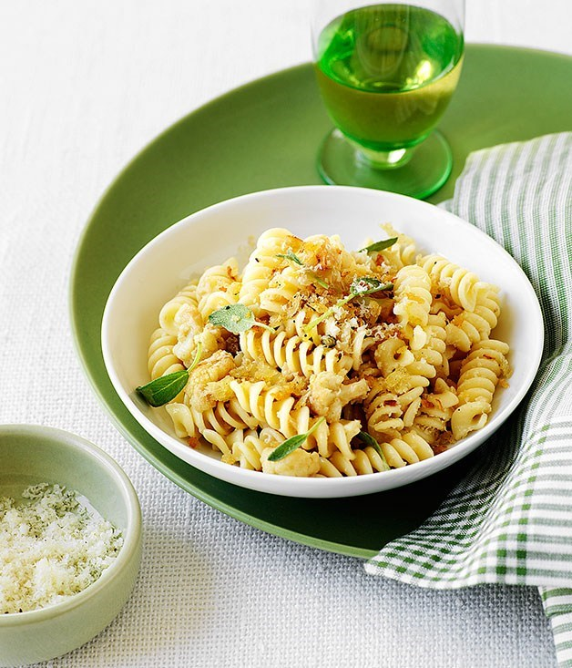 "[**Fusilli with cauliflower ragu, sage and pecorino**](https://www.gourmettraveller.com.au/recipes/browse-all/fusilli-with-cauliflower-ragu-sage-and-pecorino-9624|target=""_blank"") <br><br>"