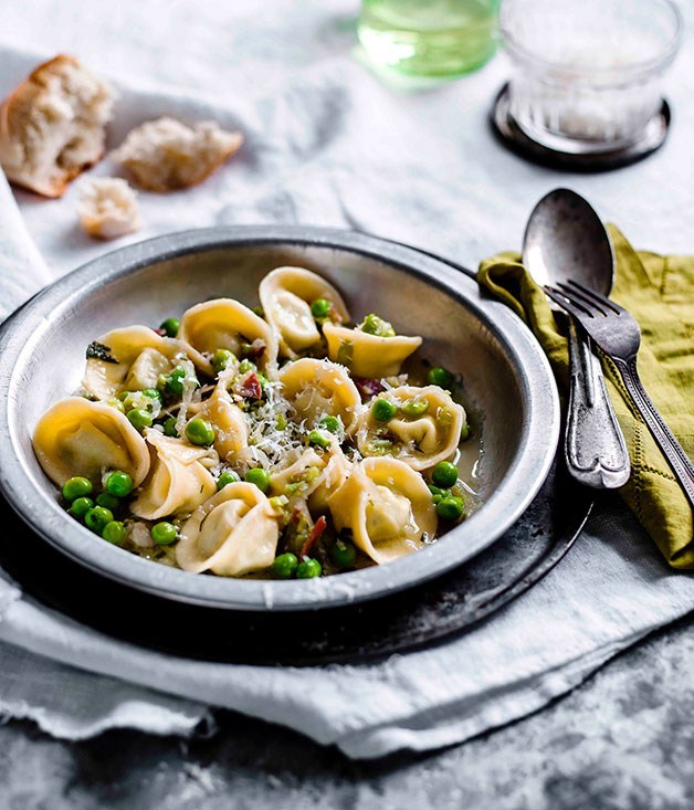 "[**Pea tortellini**](https://www.gourmettraveller.com.au/recipes/browse-all/pea-tortellini-11273|target=""_blank"") <br><br>"