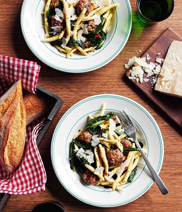 "[**Pork and fennel meatball strozzapreti with braised chicory and chilli**](https://www.gourmettraveller.com.au/recipes/chefs-recipes/pork-and-fennel-meatball-strozzapreti-with-braised-chicory-and-chilli-9033|target=""_blank"") <br><br>"
