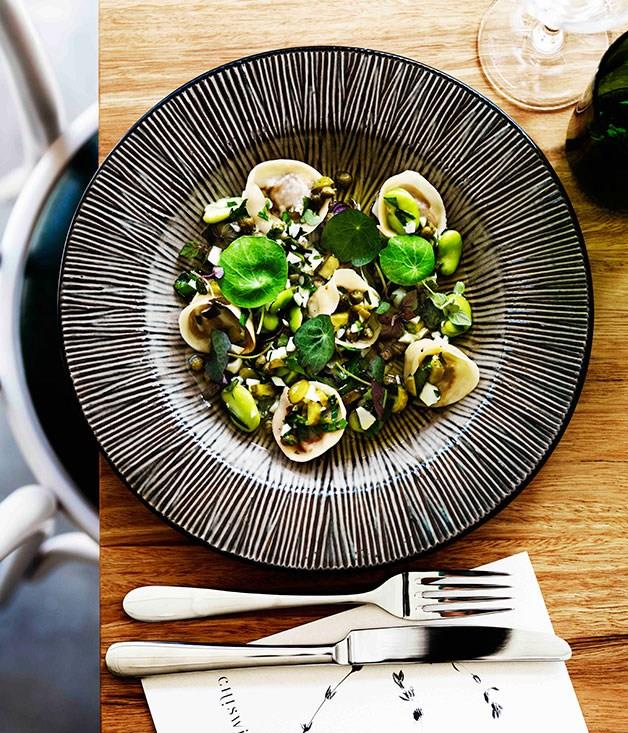 """[**Veal tortellini with broad beans and cornichons**](https://www.gourmettraveller.com.au/recipes/browse-all/veal-tortellini-with-broad-beans-and-cornichons-11422