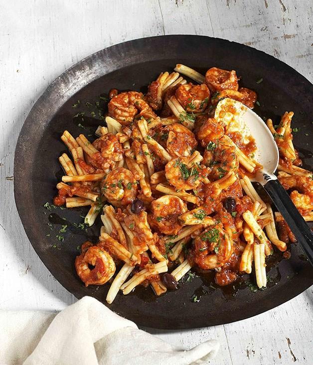 "[**Strozzapreti with king prawns, minced calamari, tomato, taggiasche olives and chilli**](https://www.gourmettraveller.com.au/recipes/browse-all/strozzapreti-with-king-prawns-minced-calamari-tomato-taggiasche-olives-and-chilli-11306|target=""_blank"") <br><br>"