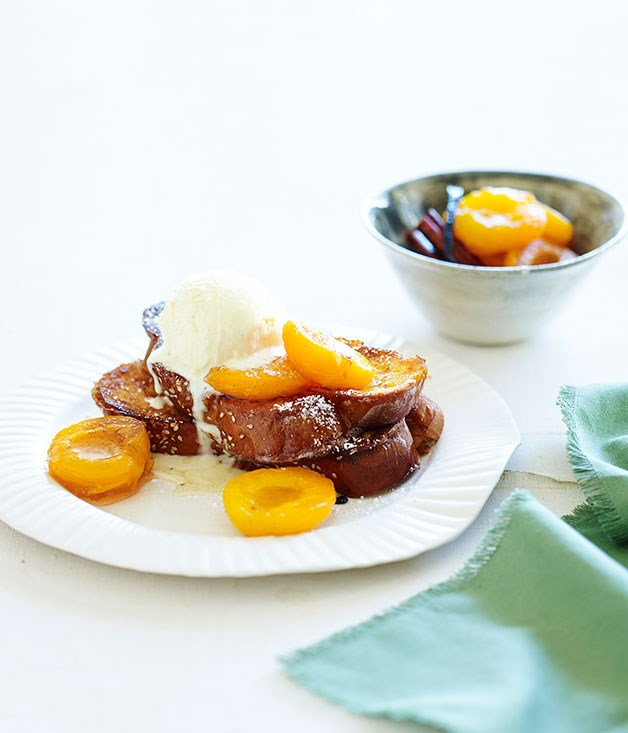 Gypsy toast with syrupy apricots and ice-cream