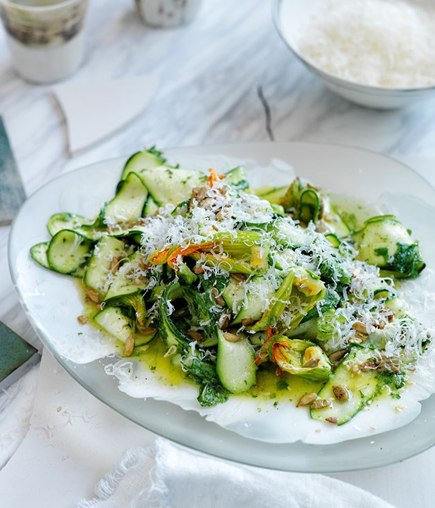 Summer zucchini salad with seeds, parmesan, and mint and lemon dressing