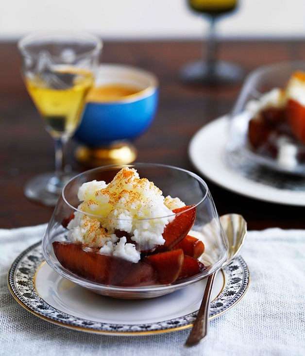 **Leche merengada with spiced plums**