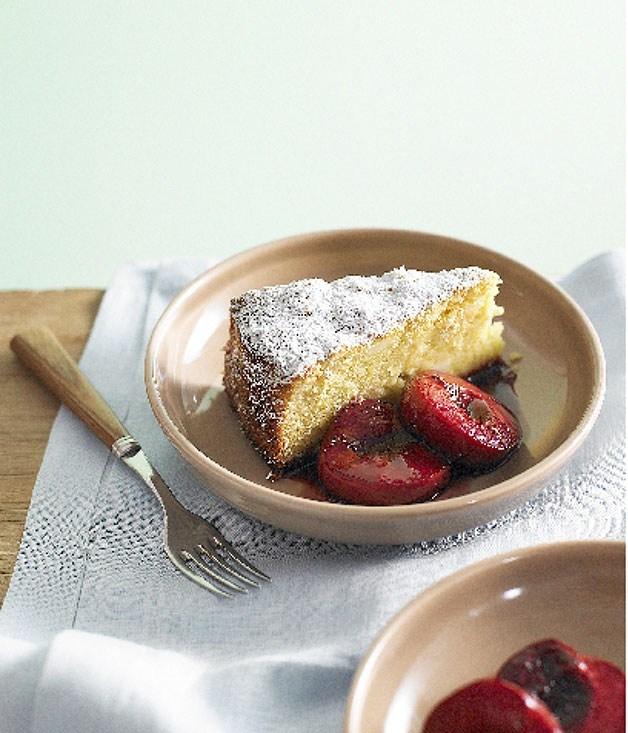 **Almond lemon cake with roasted plums**