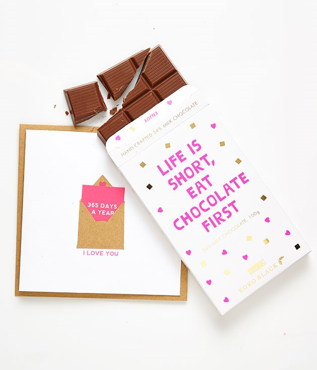 "**Kikki.K x Koko Black chocolate bar** Stationery house [Kikki.K](http://www.kikki-k.com ""Kikki.K"") and Australian chocolatier [Koko Black](http://www.kokoblack.com/ ""Koko Black"") have joined forces to create a limited-edition milk chocolate block for Valentine's Day. Pair it with one of Kikki.K's charming greeting cards (this one comes with a mini card attached for twice the love) and you've got one seriously heart-melting combo. _Chocolate $8.95, card $7.95_"