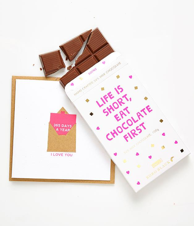 """**Kikki.K x Koko Black chocolate bar** Stationery house [Kikki.K](http://www.kikki-k.com """"Kikki.K"""") and Australian chocolatier [Koko Black](http://www.kokoblack.com/ """"Koko Black"""") have joined forces to create a limited-edition milk chocolate block for Valentine's Day. Pair it with one of Kikki.K's charming greeting cards (this one comes with a mini card attached for twice the love) and you've got one seriously heart-melting combo. _Chocolate $8.95, card $7.95_"""
