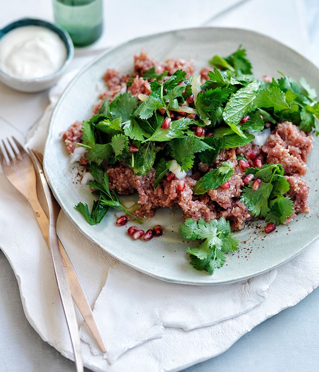 Lamb kibbeh nayeh with pomegranate and herb salad