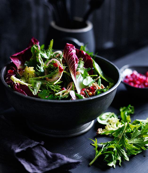 "**[Mixed tender leaf salad with pomegranate and walnuts](https://www.gourmettraveller.com.au/recipes/browse-all/mixed-tender-leaf-salad-with-pomegranate-and-walnuts-11903|target=""_blank"")**"
