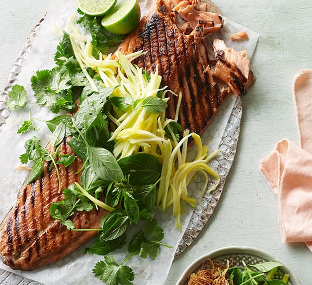 Barbecued ocean trout with green mango and shallot salad