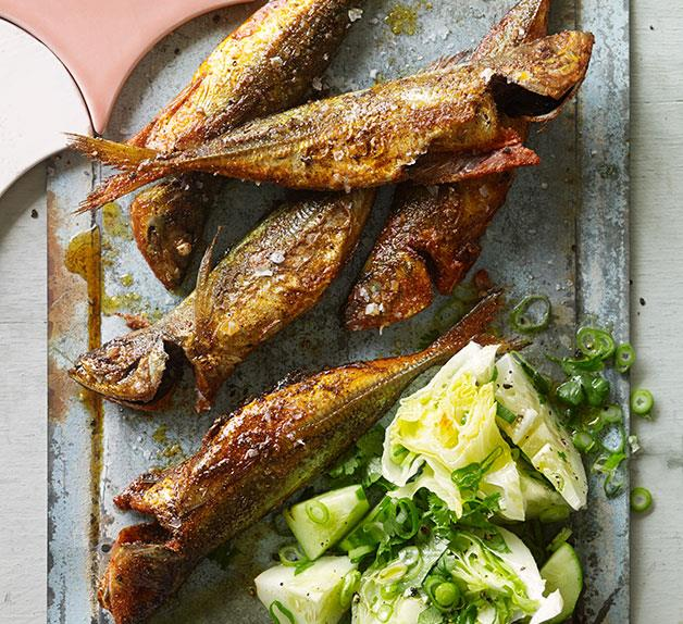 Yellowtail scad fish-fry with cucumber and iceberg salad