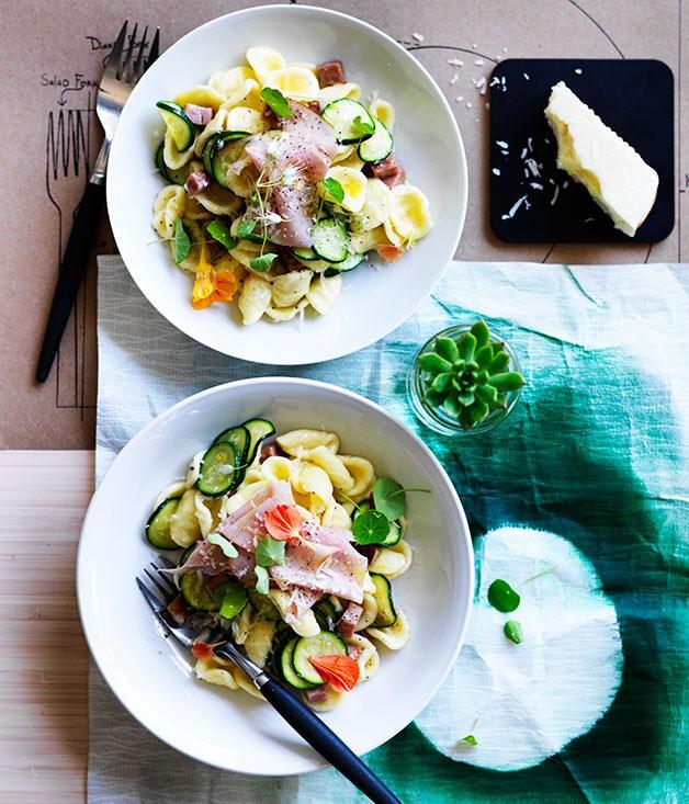 Zucchini and mortadella orecchiette with pecorino