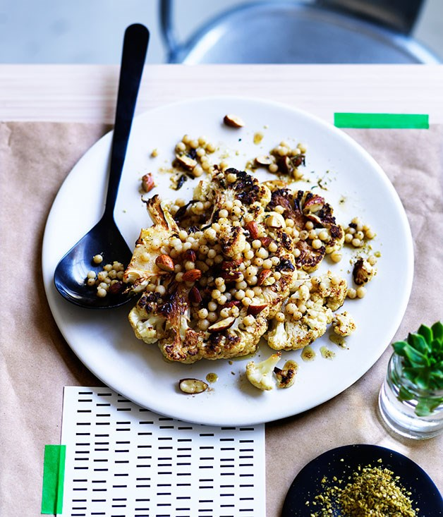 Roast cauliflower with almonds, Israeli couscous and za'atar