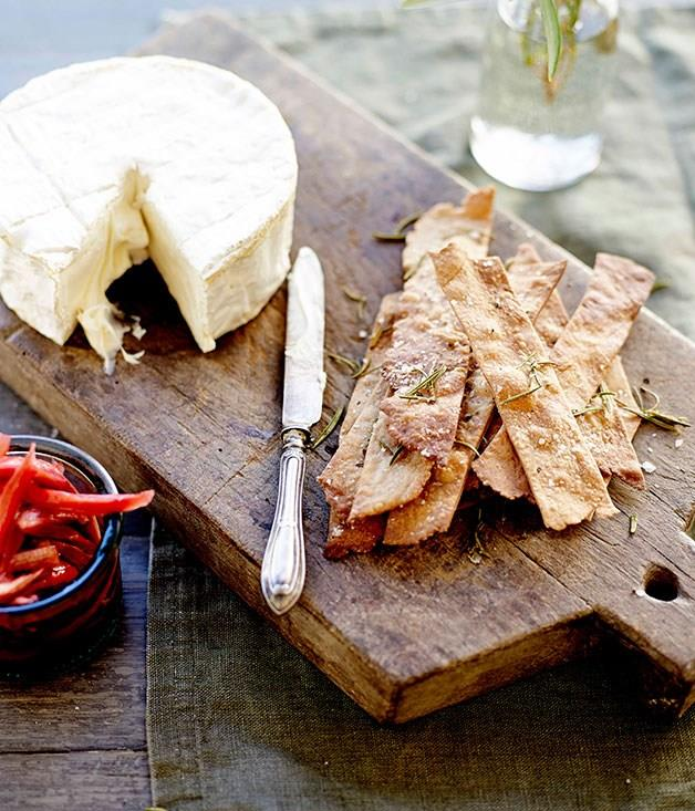 **Triple-cream cheese with olive oil, chestnut and rosemary biscuits**