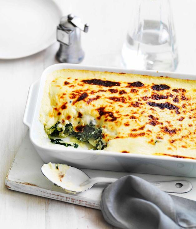 """[**Wilted greens and potato with cheese sauce**](https://www.gourmettraveller.com.au/recipes/fast-recipes/wilted-greens-and-potato-with-cheese-sauce-13244