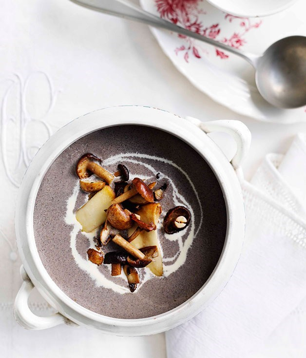 "**[Mushroom soup](https://www.gourmettraveller.com.au/recipes/fast-recipes/mushroom-soup-13100|target=""_blank"")**"