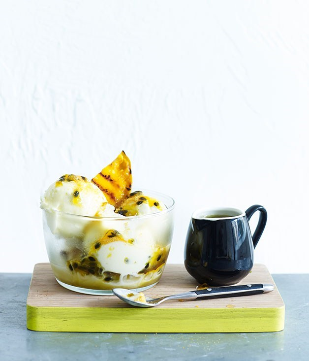 **Grilled mango and passionfruit frozen yoghurt sundae**