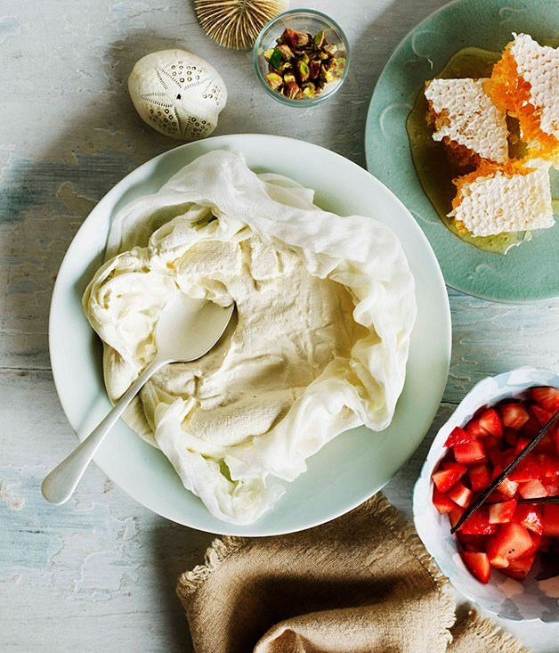 **Homemade yoghurt with strawberry and watermelon salad**