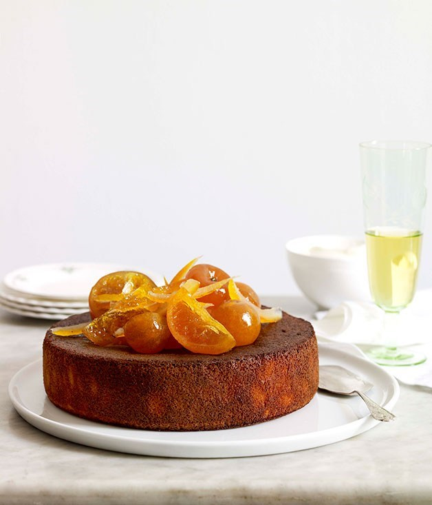 **Orange, cardamom and almond cake with orange blossom yoghurt**