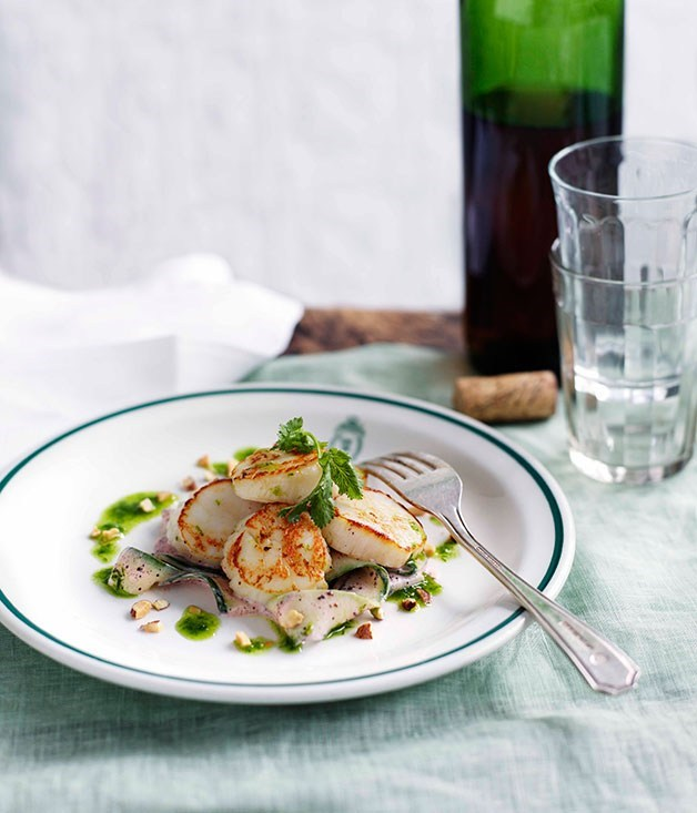 **Scallop, cucumber and yoghurt salad with smoked almonds**