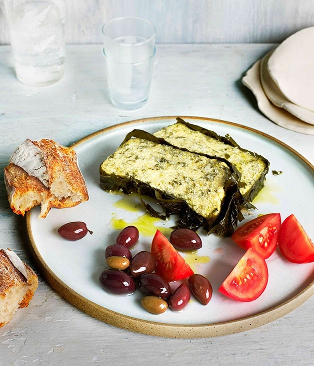 **Yoghurt baked in vine leaves with dill and parsley**