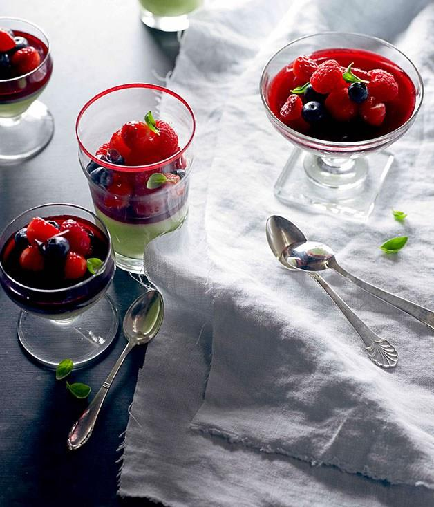 """[**Basil panna cotta with raspberry jelly**](https://www.gourmettraveller.com.au/recipes/chefs-recipes/philippa-sibley-basil-panna-cotta-with-raspberry-jelly-7486