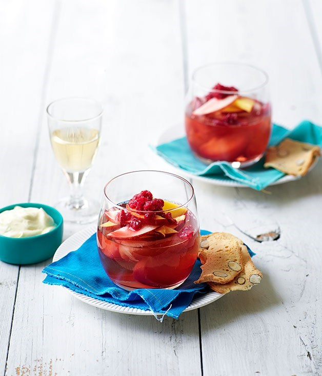 "[**Nectarine jelly with muscat**](https://www.gourmettraveller.com.au/recipes/browse-all/nectarine-jelly-with-elderflower-cream-and-crushed-raspberry-ice-14273|target=""_blank"")"