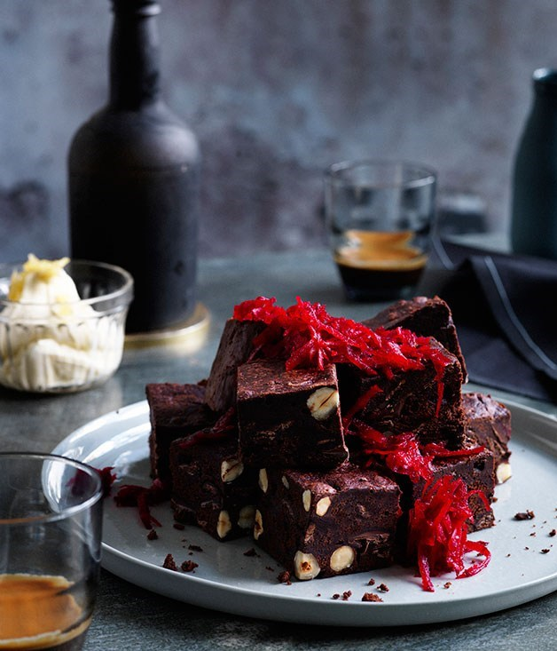 """[Beetroot brownies with ginger crème fraîche](https://www.gourmettraveller.com.au/recipes/chefs-recipes/beetroot-brownies-with-ginger-creme-fraiche-7954 target=""""_blank"""")"""