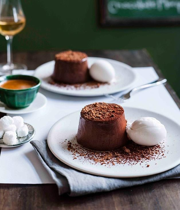 """[Chocolate marquise with lime and coconut sorbet](https://www.gourmettraveller.com.au/recipes/chefs-recipes/chocolate-marquise-with-lime-and-coconut-sorbet-9071