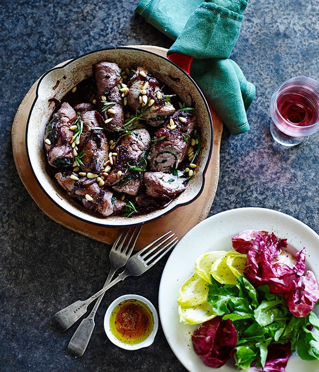 **Pork braciole with currants and rosemary**